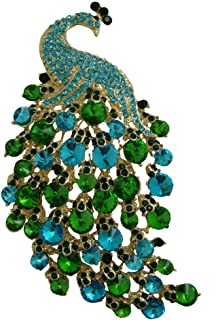 TTjewelry Art Nouveau Gorgeous Peacock Crystal Rhinestone Brooch Pins