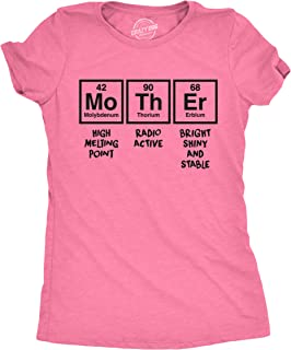 Womens Mother Periodic Table T shirt Funny Novelty Graphic Mothers Day Tee Nerdy (Heather Pink) - XL