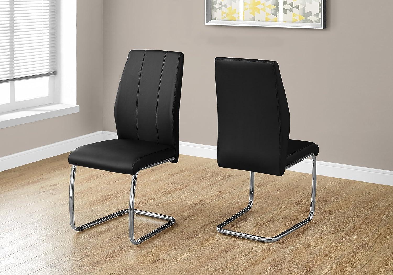 Monarch Specialties Dining Chair - 2Pcs 39 H Black Leather-Look Chrome, 17.25  L X 20.25  D X 38.75  H
