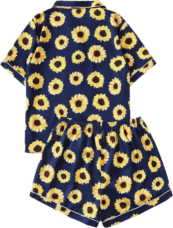 Milumia Women's Plus Size Sunflower Print Button Down Top and Shorts Sleepwear Pajama Set