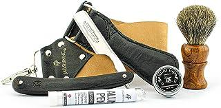 Jag Shaving Cut Throat Razor Kit - 3 stuks Straight Razor Kit - Zwart Recht Scheermes - Dubbelzijdig Recht Scheermesje - S...