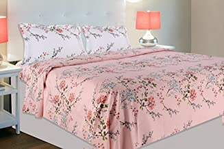 haus & kinder Victorian Summer Dream, 100% Cotton Double Bedsheet with 2 Pillow Covers, 186 Thread Count (Pink: White Pillows)
