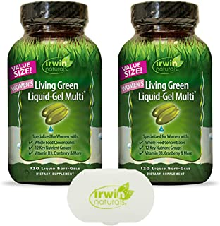 Irwin Naturals Women's Multivitamin Living Green Liquid-Gel Multi with Key Nutrients and Whole Foods - 120 Liquid Softgels...