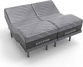 "Sven & Son Split King Adjustable Bed Base Frame (Head Tilt) + 14"" Luxury Cool Gel Memory Foam Mattress, Head & Foot USB Po..."