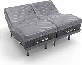 "Sven & Son Split King Adjustable Bed Base Frame + 14"" Luxury Cool Gel Memory Foam Hybrid Mattress, Head Up Foot Up, USB Po..."