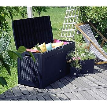 FineHome XL - Arcón de plástico para Cojines, Caja de jardín con Ruedas, Aspecto de ratán, de plástico, para Cojines o Cojines de tapicería, Impermeable, Color Antracita, 310 litros: Amazon.es: Jardín