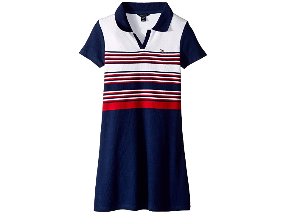 Tommy Hilfiger Kids Yarn-Dye Rib Polo Dress (Big Kids) (Flag Blue) Girl