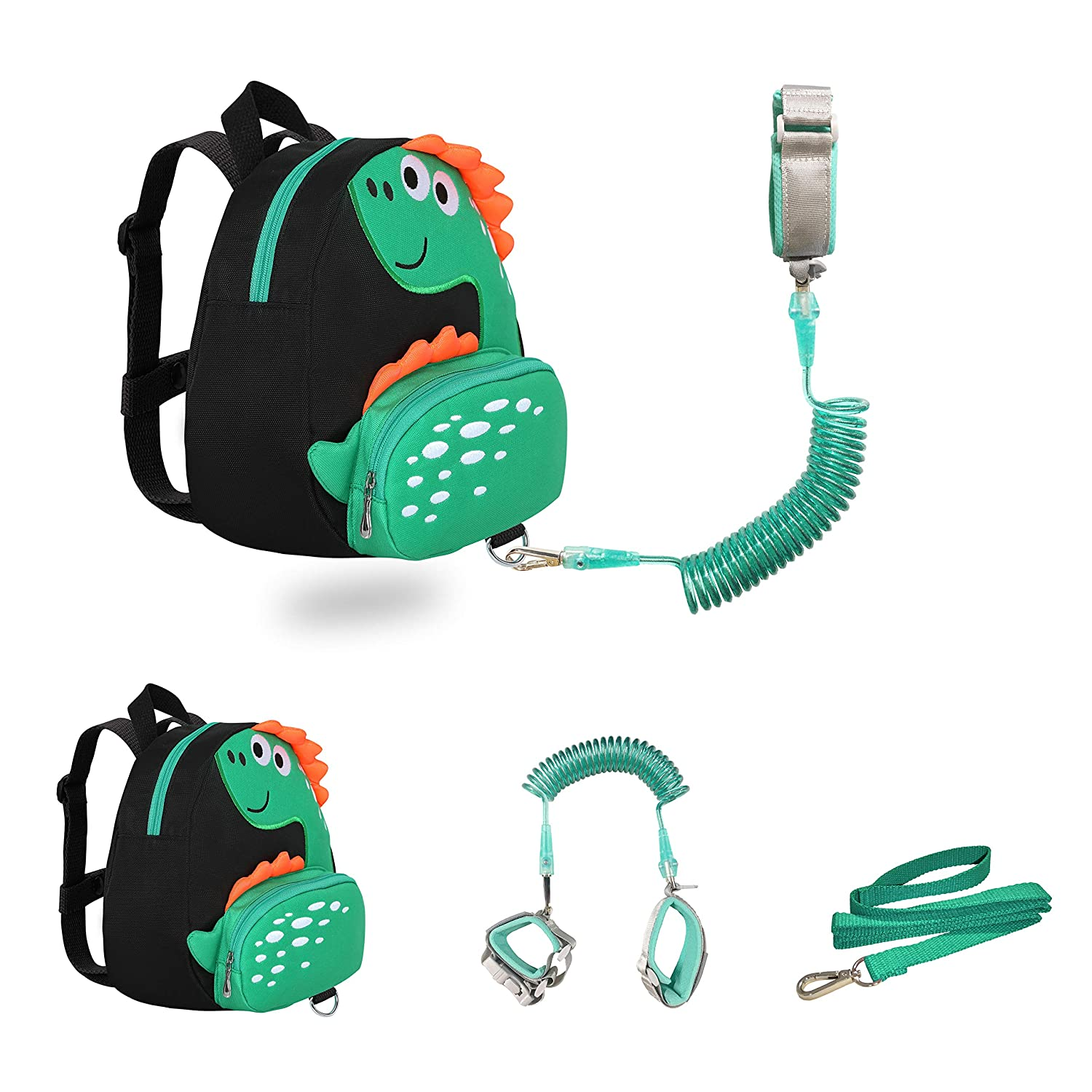 JIANBAO Dinosaur Toddler Backpacks with Leashes Anti Lost Wrist Link for 1.5 to 3 Years Kids Girls Boys Safety (Dinosaur, Black)