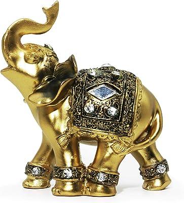 "CAFOLO ~ 4.5""(H) Golden Elephant Figurine Statue for Good Feng Shui Wealth Lucky for Home Decor"