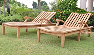 New Steamer Teak Multi Position Sun Chaise Lounger with Slide Out Tray - Furniture only - ND Collection #WHCHND
