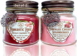 Way Out West Candles Romantic Gift Pack- Jar Candles Scented Set of 2 – Soy Wax..