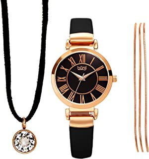 Burgi BUR211 Women's Jewelry Gift Set – Leather Strap Watch, Swarovski Crystal Leather Cord Choker Necklace and Metal Strands Bracelet – Flash Plated