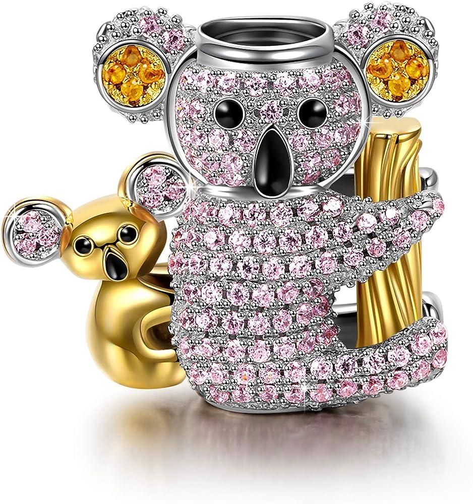 Ninaqueen,charm ,ciondolo a forma di koala,in argento sterling 925 e zirconi,compatibile con bracciali pandora NQCT5654BB