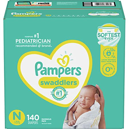 Diapers Newborn/Size 0 (< 10 lb), 140 Count - Pampers Swaddlers Disposable Baby Diapers, Enormous Pack (Packaging May Vary)