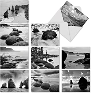 10 Boxed Landscape Note Cards with Envelopes 4 x 5.12 inch - Assortment of All Occasion 'On The Rocks' Blank Greeting Cards - Black and White Photograph Notecard of Rocky Sea, Ocean Beach M3309
