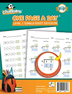 Channie's One Page A Day Single digit level 1 beginner visual division workbooks for easy teaching learning Grade 3-5 Size...