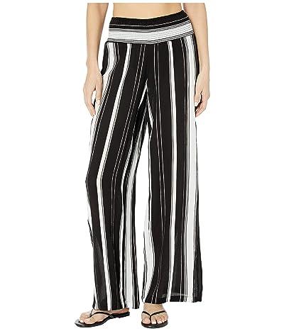 LAUREN Ralph Lauren Stripe Cover-Ups Rayon Stripe Smocked Pants (Black/White) Women