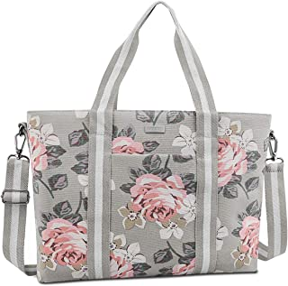 MOSISO Laptop Tote Bag for Women (Up to 17.3 inch), Canvas Rose Multifunctional Work Travel Shopping Duffel Carrying Shoulder Handbag Compatible with MacBook, Notebook and Chromebook, Grey