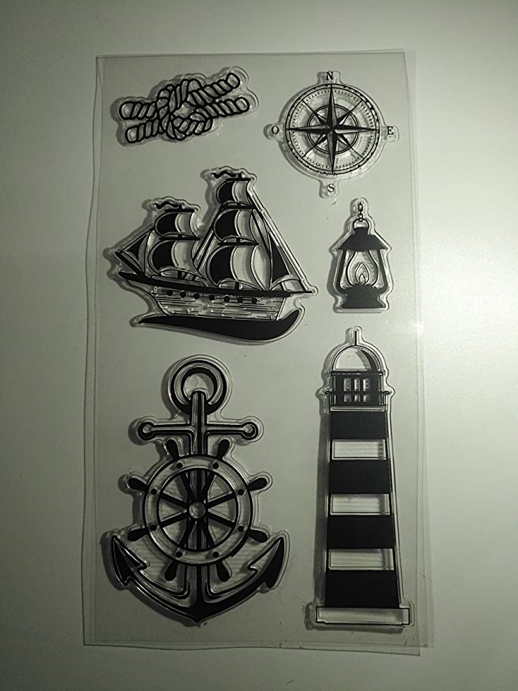 MaGuo Navigation Clear Stamps Sailing Lighthouse Compass for DIY Scrapbooking and Card Making Decoration