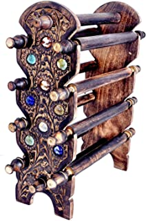 M.A HANDICRAFTS Wooden Hand Carved Wooden Bangle Stand//Wooden 10 Tier Bar Bracelet, Bangle Jewelry Holder Stand Display O...