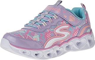 SKECHERS Heart Lights, Girls' Sneakers, Multicolour (Lavender/Mint), 35 EU