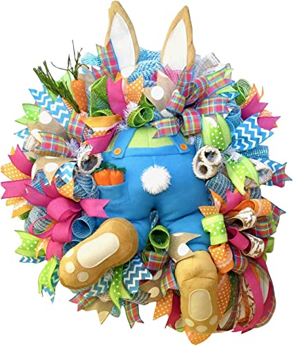 new arrival Easter Wreaths for new arrival Front Door Easter Rabbit Wreath Decor online Easter Rabbit Front Door Wreath Bunny Butt with Ears Easter Wreath Garland Wall Decor Easter Decorations Craft, 21In online