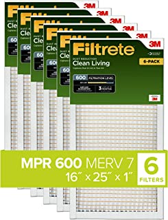 Best Filtrete 16x25x1, AC Furnace Air Filter, MPR 600, Clean Living Dust Reduction, 6-Pack (exact dimensions 15.69 x 24.69 x 0.81) Review