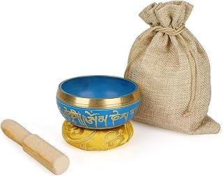 Allnice Cuenco tibetano para meditación con sonido de 8,4 cm, juego de meditación con golpeador y cojín, hecho a mano en N...