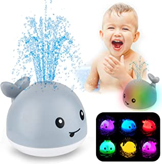 ZHENDUO Baby Bath Toys, Whale Automatic Spray Water Bath Toy with LED Light, Induction Sprinkler Bathtub Shower Toys for T...