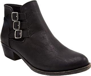 حذاء Tulsa نسائي من Rampage بكعب طويل وكاحل وكاحل للسيدات بسحاب جانبي مع مشبك ثلاثي فوق الكاحل المفتوح