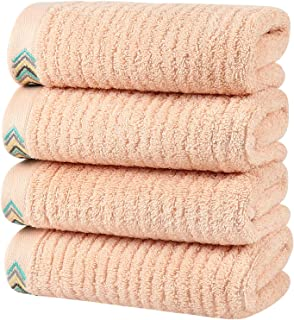 HOULIFE Premium Cotton Hand Towels Set of 4 - Super Soft and Highly Absorbent Hand Towels for Bathroom Daily Use (Peach, 4...