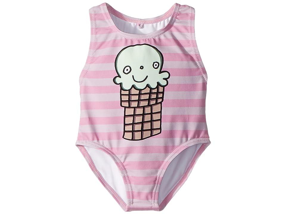 Stella McCartney Kids Molly Striped Ice Cream Print Swimsuit (Infant) (Pink) Girl