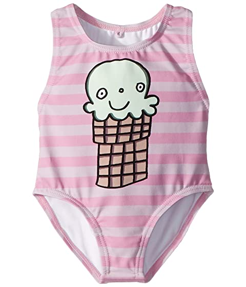 Stella McCartney Kids Molly Striped Ice Cream Print Swimsuit (Infant)