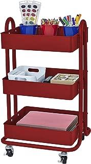 ECR4Kids 3-Tier Metal Rolling Utility Cart - Heavy Duty Mobile Storage Organizer, Red