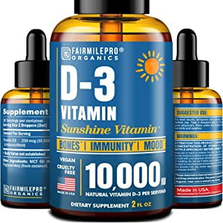Vitamin D 10,000 IU - Vitamin D3 for Immune Support & Healthy Bones - Made in USA - High Potency Vitamin D Supplements - D...