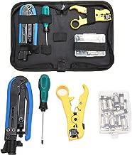 KOTTO Coax Cable Crimper Kit, Compression Tool Coax Cable Crimper Kit, Adjustable RG6 RG59 RG11 75-5 75-7 Coaxial Cable Stripper with 20 PCS F Compression Connectors