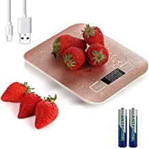 5kg/11lb Digital Kitchen Food Scale USB Rechargeable Stainless Steel Ultra Slim Food Scale High Precision with 0.04oz/1g D...