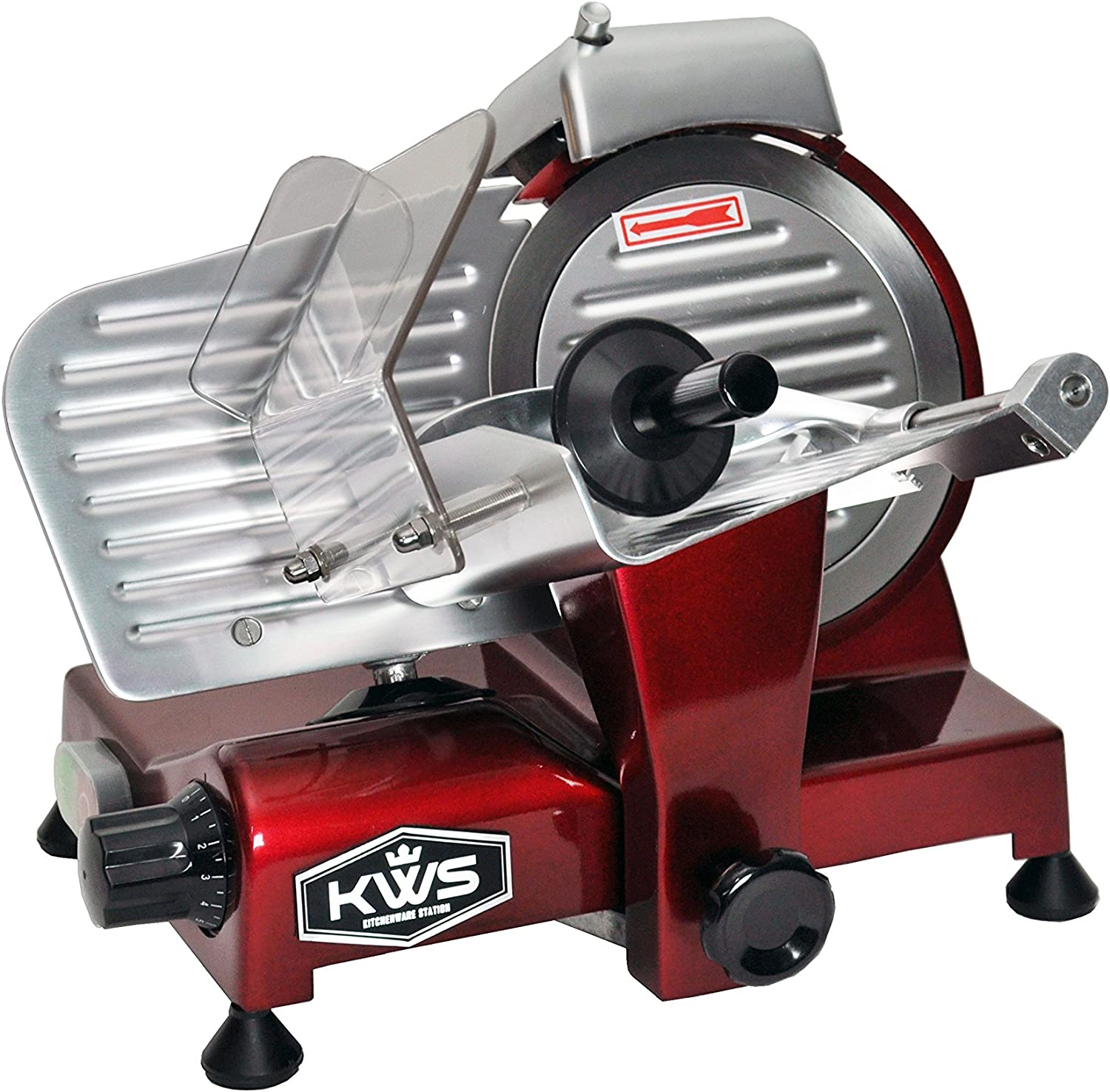 KWS MS-6RS Premium 200w Electric Meat Under blast sales 6-Inch Slicer in OFFicial shop Stain Red