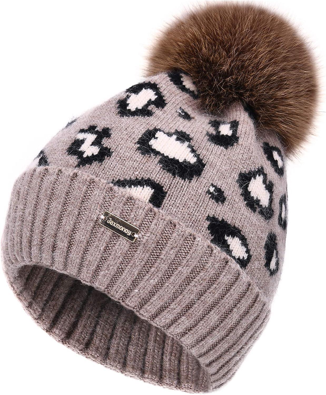 jaxmonoy Winter Leopard Fur Pom Pom Knitted Beanies Hats for Women Warm Cashmere Wool Beanie with Pompom