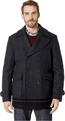 Wool Peacoat with Color Blocked Hem