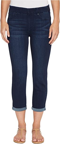 Chloe Rolled Cuff Pull-On Capris in Silky Soft Denim in Griffith Super Dark