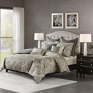MADISON PARK SIGNATURE Plateau 9 Piece Luxurious Jacquard Bedding Comforter Set for Bedroom, King Size, Dark Gray