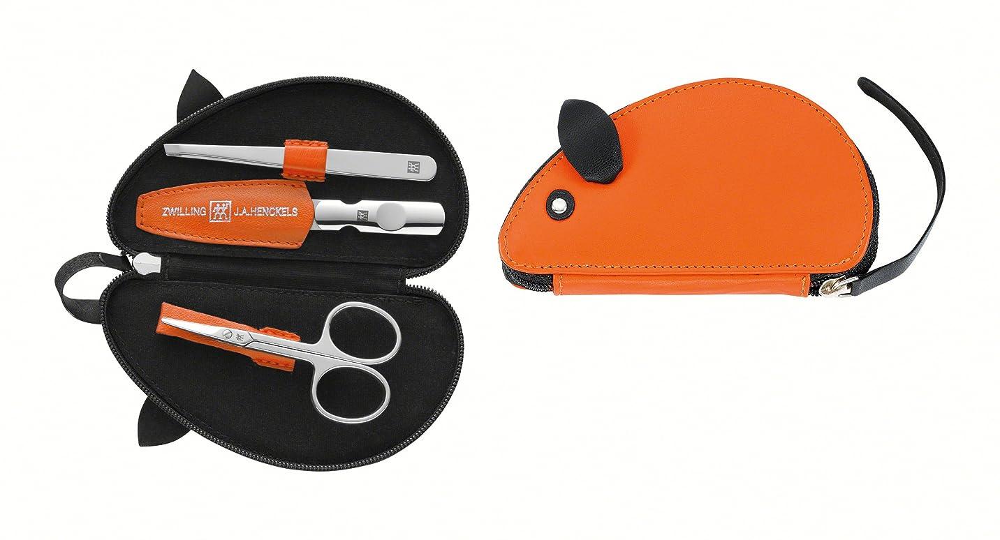 郵便物どう?薬を飲むZwilling Leather Mouse Shaped Manicure Set, Orange, 3 Pcs.