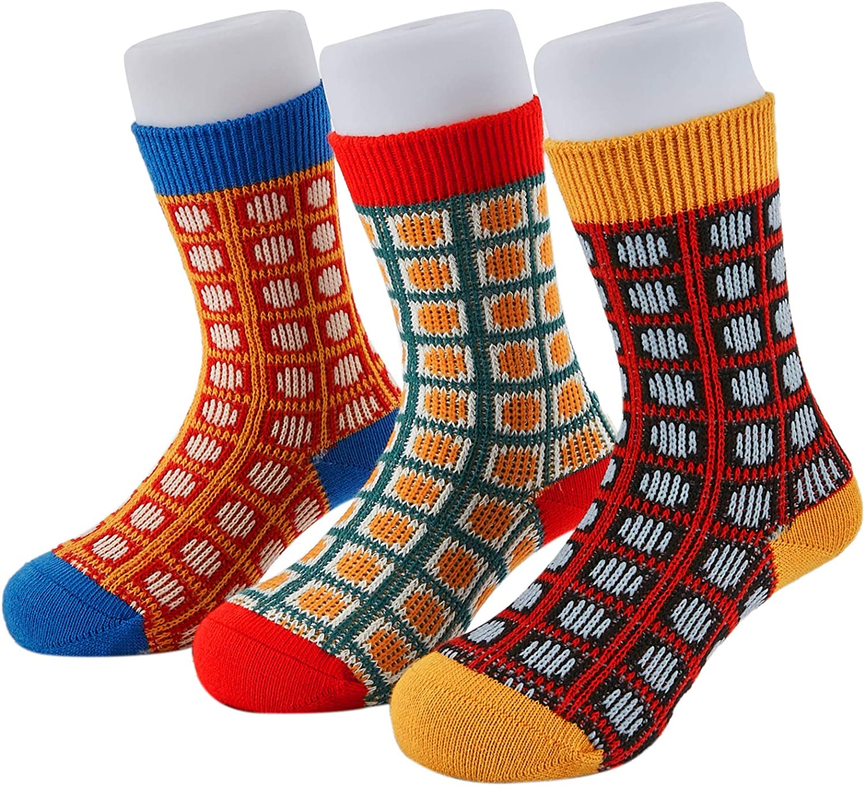 Seamless Toddler Crew Socks, Double Knit Vintage Style Kids Socks for Girls & Boys, 4 Seasons