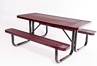 Coated Outdoor Furniture T6-BUR Rectangular Portable Picnic Table, 6 Feet, Burgundy