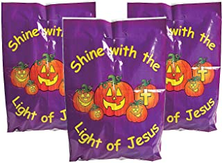 Fun Express - Christian Pumpkin Plastic Bags (50pc) for Halloween - Party Supplies - Bags - Plastic Bags - Halloween - 50 Pieces