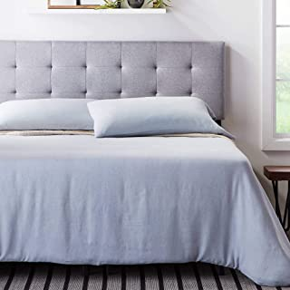 Lucid Square Tufted Mid Rise Headboard - Durable Wood Construction - Soft Linen Inspired Fabric Adjustable Height - Queen