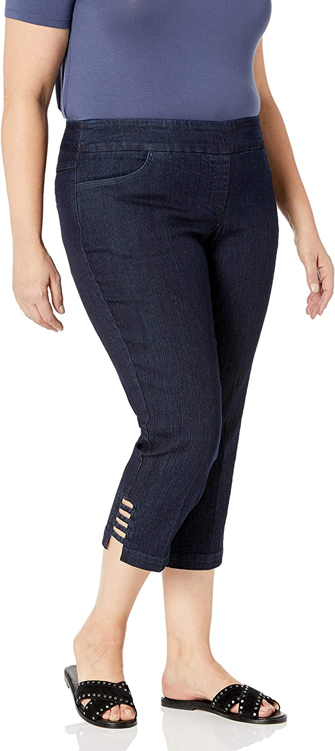 SLIM-SATION Women's Plus Size Pull-on Solid Crop Real Front and Back Pockets and Straps