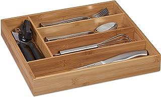 Relaxdays 10032176 Range-Couvert, 5 Compartiments, Bambou, Petit Organiseur de tiroir pour ustensiles, HLP 5 x 30 x 34 cm,...