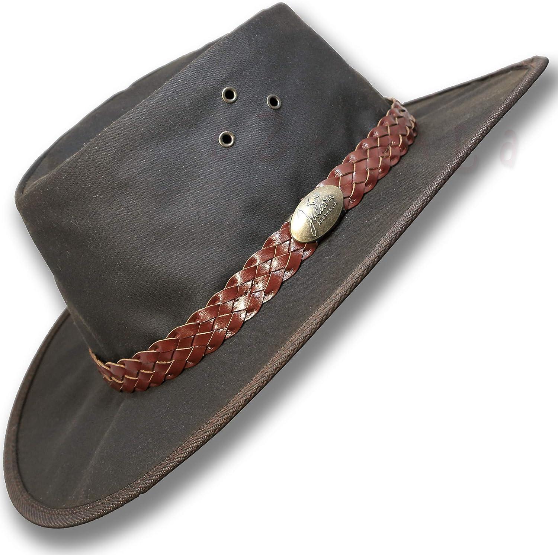 Oztrala Hat Oilskin Canvas Australian Outback Leather Mens Black Cowboy Bucket HCKS HCKB US